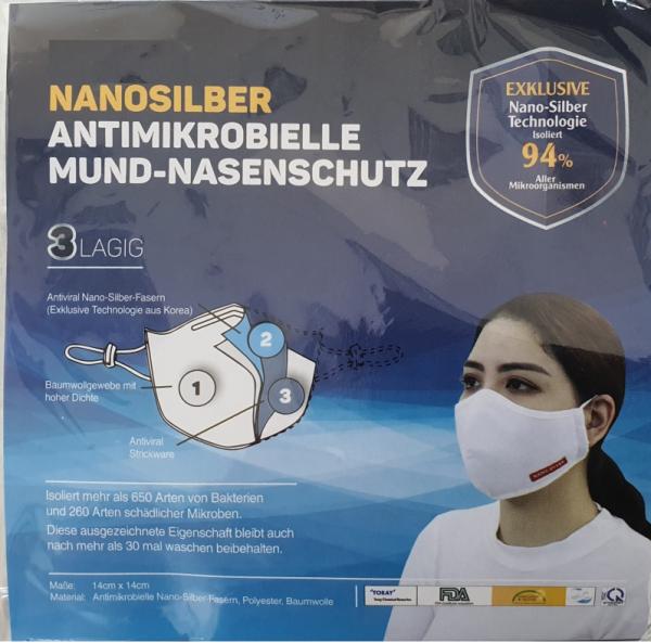 Atemschutzmaske waschbar Mund- und Nasenschutz mit Nano-Silber Technologie