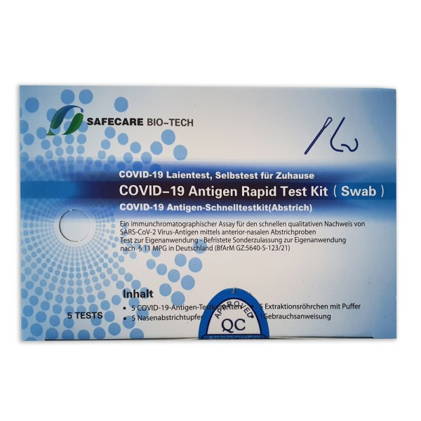Safecare Bio-Tech Coronavirus Covid-19 Antigen Schnelltest Rapid Test KIT (Swab) Laientest 5 Tests