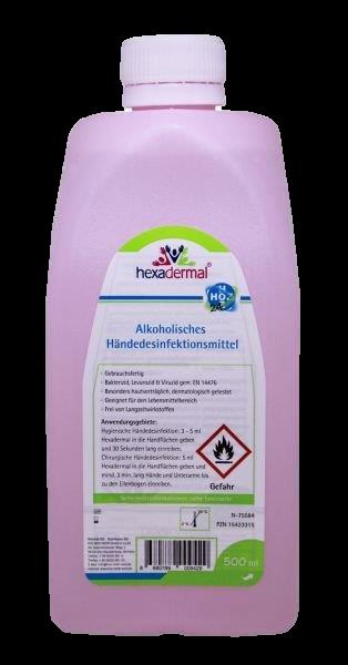 alkoholische Händedesinfektion Hexadermal 500ml (Flasche)